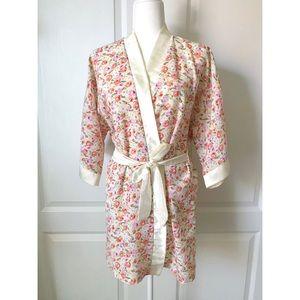 Vintage floral satin chiffon robe pink orange